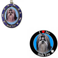 Bundle - 2 Items: Black and White Shih Tzu Spinning Keychain and I Love My Magnet