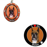 Bundle - 2 Items: Cropped Boxer Spinning Keychain and I Love My Magnet
