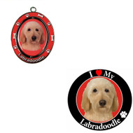 Bundle - 2 Items: Labradoodle Spinning Keychain and I Love My Magnet