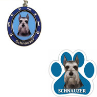Bundle - 2 Items: Cropped Schnauzer Spinning Keychain and Paw Magnet