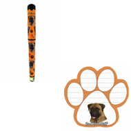 Bundle - 2 Items: Bullmastiff Dog Paw Magnetic Note Pad & Gel Pen