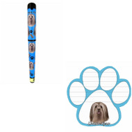 Bundle - 2 Items: Lhasa Apso Dog Paw Magnetic Note Pad & Gel Pen