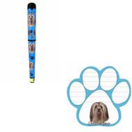 Bundle - 2 Items: Lhasa Apso Dog Paw Magnetic Note Pad & Gel Pen