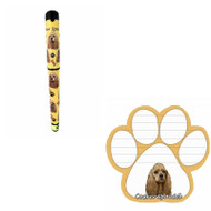 Bundle - 2 Items: Cocker Spaniel Dog Paw Magnetic Note Pad & Gel Pen