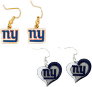 New York Giants Logo and Swirl Heart Earrings