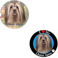 "Bundle - 2 Items: Lhasa Apso Absorbent Car Cup Coaster & Circle ""Love"" Magnet"