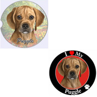 "Bundle - 2 Items: Puggle Absorbent Car Cup Coaster & Circle ""Love"" Magnet"