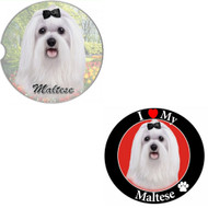 "Bundle - 2 Items: Maltese Absorbent Car Cup Coaster & Circle ""Love"" Magnet"