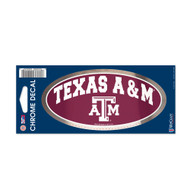 "Texas A&M University 3"" x 7"" Chrome Decal"
