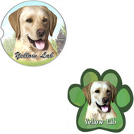 Bundle - 2 Items: Yellow Labrador Absorbent Car Cup Coaster & Paw Magnet
