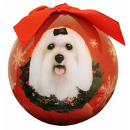 Maltese Christmas Ball Ornament
