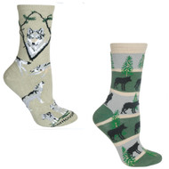 Bundle 2 Items: Wolf on Stone and on Green Large Cotton Socks