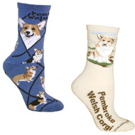 Bundle 2 Items: Pembroke Welsh Corgi on Blue and on Natural Large Cotton Socks