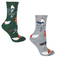 Bundle 2 Items: Rooster on Green and on Grey Large Cotton Socks