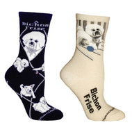 Bundle 2 Items: Bichon Frise on Black and on Natural Large Cotton Socks