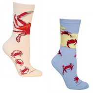 Bundle 2 Items: Crabs on Blue and on Natural Large Cotton Socks