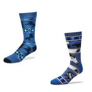 Bundle 2 Items: Horse Eyes and Horse Motif Blue Medium Socks