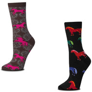 Bundle 2 Items: Retro and Damask Horse Medium Socks