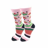 Watermelon One Size Fits Most Pink Ladies Crew Socks