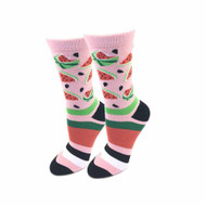 Watermelon One Size Fits Most Pink Ladies Crew Socks