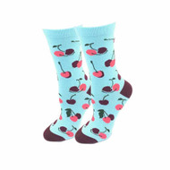 Cherries One Size Fits Most Light Blue Ladies Crew Socks