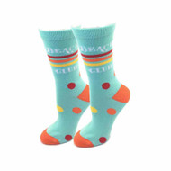 Beach Club One Size Fits Most Aqua Ladies Crew Socks
