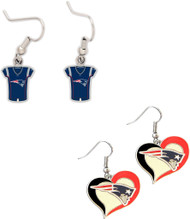 New England Patriots Jersey and Swirl Heart Earrings