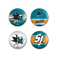 San Jose Sharks Buttons 4-Pack
