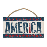 USA America Wood Sign with Rope