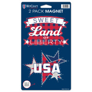USA Sweet Land of Liberty Die Cut Car Magnets (2 Pack)
