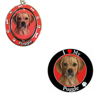 Bundle - 2 Items: Puggle Spinning Keychain and I Love My Magnet