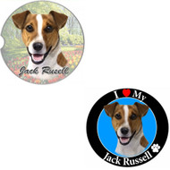 """Bundle - 2 Items: Jack Russell Absorbent Car Cup Coaster & Circle """"Love"""" Magnet"""