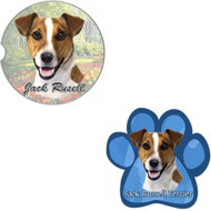 Bundle - 2 Items: Jack Russell Absorbent Car Cup Coaster & Paw Magnet
