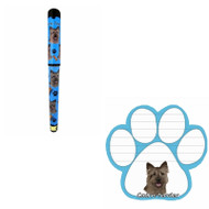 Bundle - 2 Items: Cairn Terrier Dog Paw Magnetic Note Pad & Gel Pen