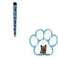 Bundle - 2 Items: Cairn Terrier Dog Paw Magnetic Note Pad & Gel Pen
