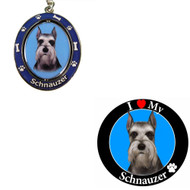 Bundle - 2 Items: Cropped Schnauzer Spinning Keychain and I Love My Magnet