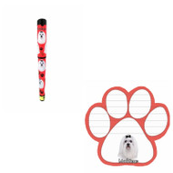 Bundle - 2 Items: Maltese Dog Paw Magnetic Note Pad & Gel Pen