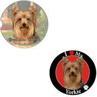 "Bundle - 2 Items: Yorkie Absorbent Car Cup Coaster & Circle ""Love"" Magnet"