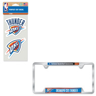 Bundle - 2 Items: Oklahoma City Thunder Metal License Plate Frame and Die Cut Decals