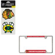 Bundle - 2 Items: Chicago Blackhawks Metal License Plate Frame and Die Cut Decals