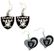 Oakland Raiders Logo and Swirl Heart Earrings