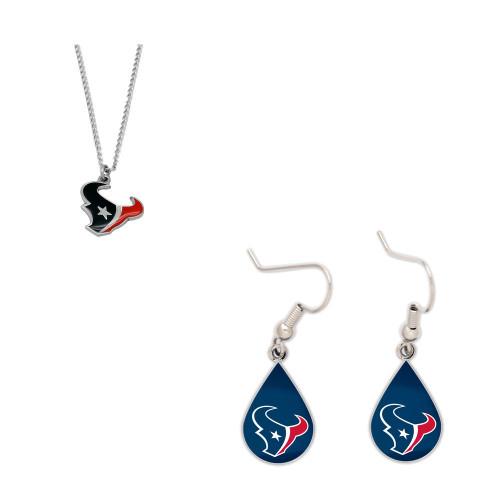 Houston Texans Logo Necklace and Teardrop Earrings