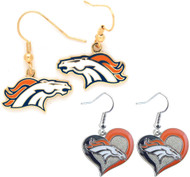 Denver Broncos Logo and Swirl Heart Earrings