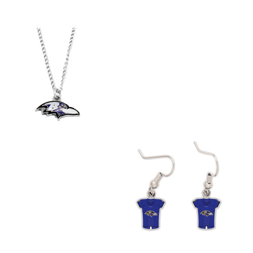 Baltimore Ravens Logo Necklace and Jersey Earrings