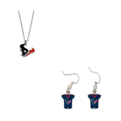 Houston Texans Logo Necklace and Jersey Earrings