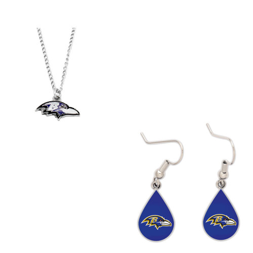 Baltimore Ravens Logo Necklace and Teardrop Earrings