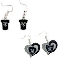 Oakland Raiders Jersey and Swirl Heart Earrings