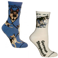 Bundle 2 Items: German Shepherd on Blue and on Natural Large Cotton Socks