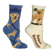 Bundle 2 Items: Golden Retriever on Blue and on Natural Large Cotton Socks