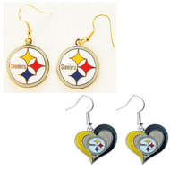Pittsburgh Steelers Logo and Swirl Heart Earrings